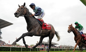 KINGSTON HILL with A Atzeni wins St Leger Stakes at Doncaster 13-9-14.