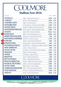 coolmore stallion fees 2016